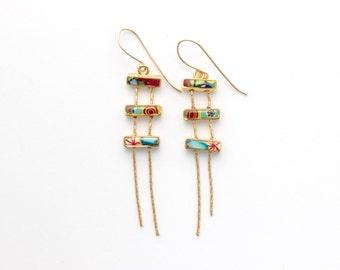 Gold Multi Color Earrings, Bars Earrings, Gift for Women, Gift for Girl, Unique Earrings, Original Jewelry, Simona Azriel, Israel Jewelry