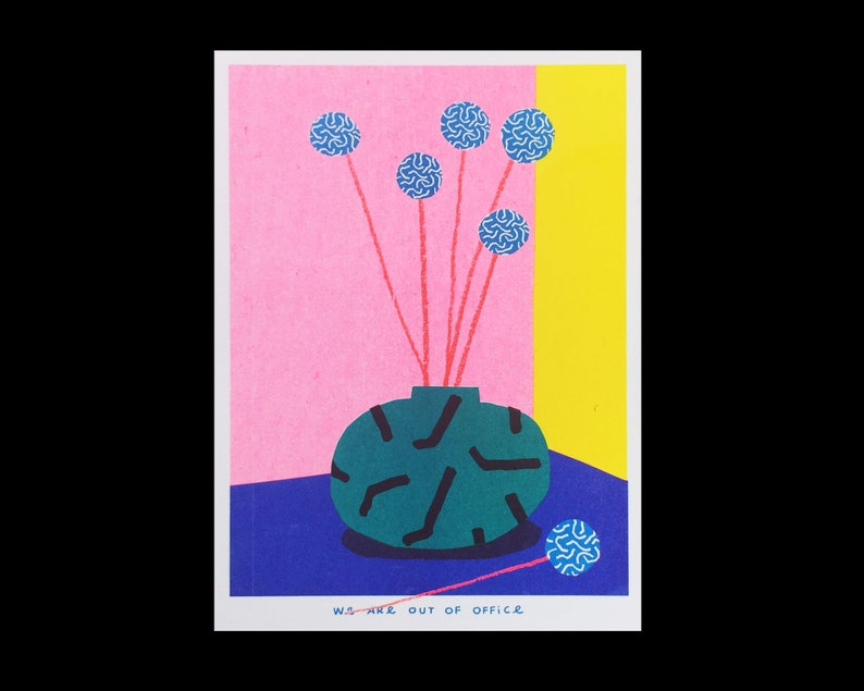 A risograph print of a small vase full of blue billy buttons  image 0