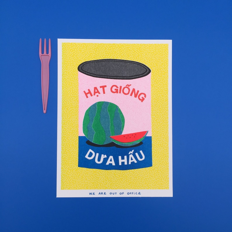 A risograph print of a colorful can full of watermelon seeds  image 0