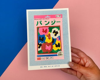 A risograph print of a small package of pansy seeds