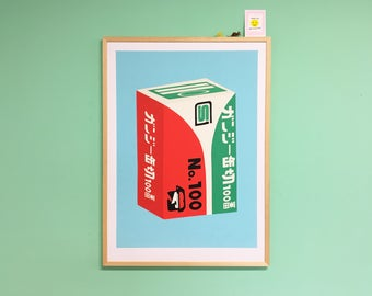 Big Screenprint of the packaging of a Japanese can opener