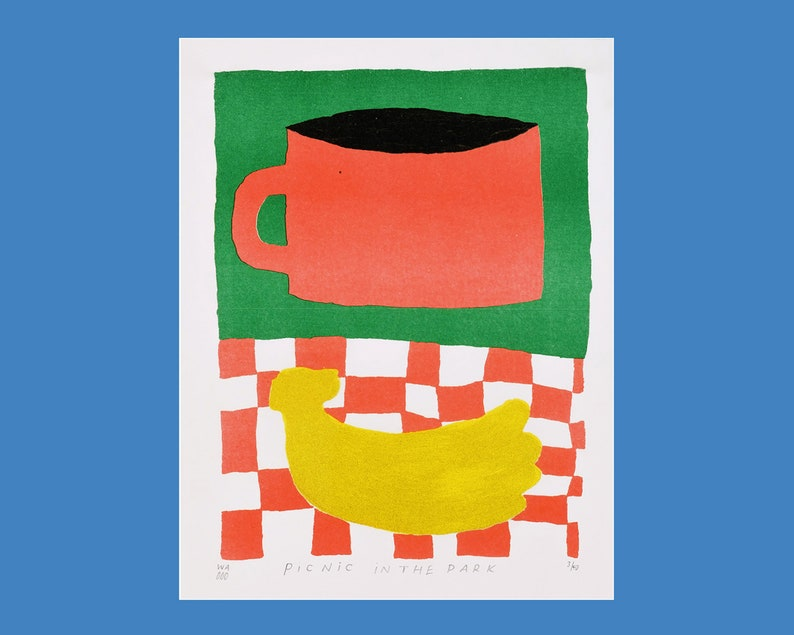 A risograph print of a picnic in the park image 0