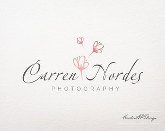 Flower Photography Logo - Flower logo -  Customized for ANY business logo - Premade Photography Logos - Pink logo - Watermark 181