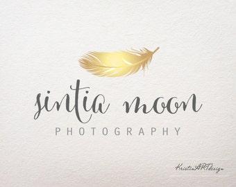 Gold feather logo, Premade logo, Feather logo design, Photography logo and watermark, Logo design, Gold logo, Business logo, Brand deign 062