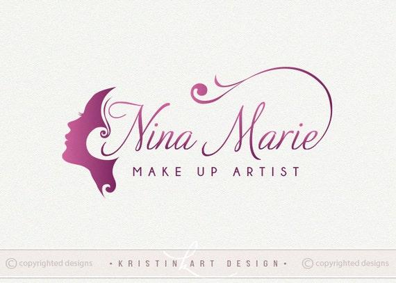 Make Up Logo Design Beauty Logo Cosmetics Logo Purple Logo Etsy