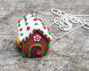 Polymer Clay Gingerbread House. OOAK. Candies pendant Necklace. Christmas Jewelry.