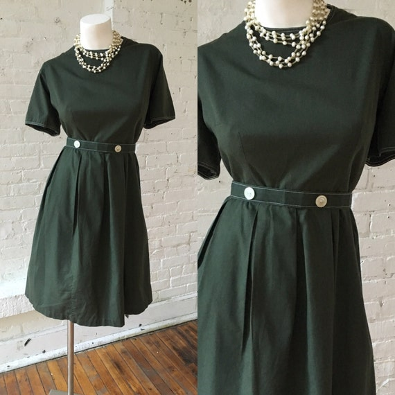 1950s Hunter Green Dress
