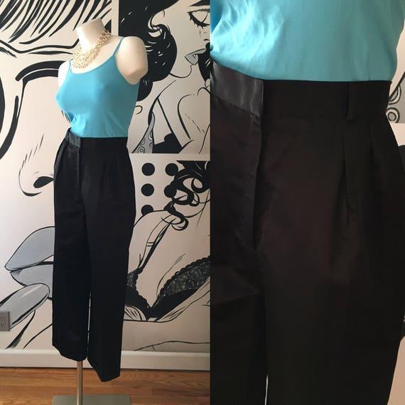 Mary Ann Restivo Black Satin Pleated Pants