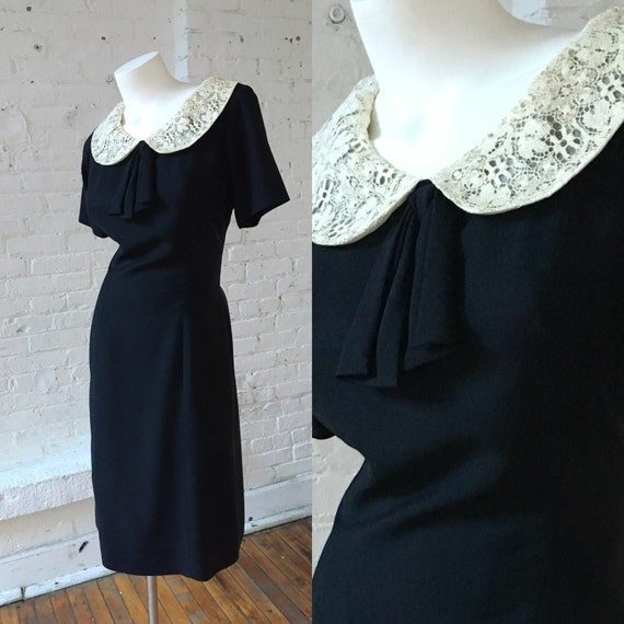 Miss Tall America 1950s Black Vintage Dress with P