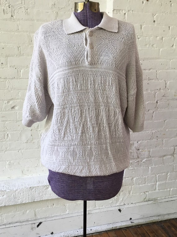 Vintage Givenchy Knit Pale Gray Polo