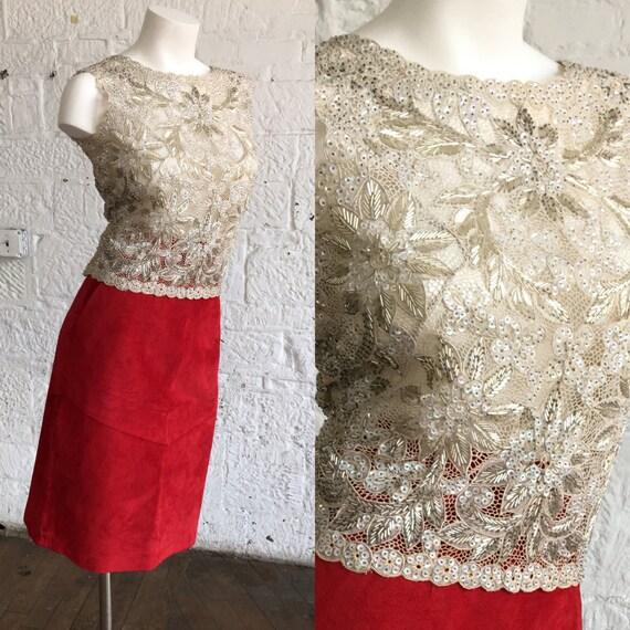 Golden Ivory Floral Sequin Vintage Shirt