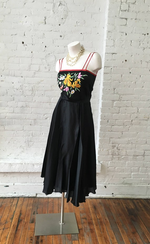 Black Vintage Embroidered Dress