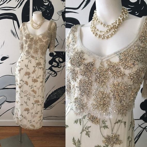 Badgley Mischka Floral Beaded Evening Gown