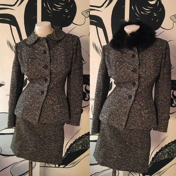 Black and White Wools 2 Piece Skirt Suit