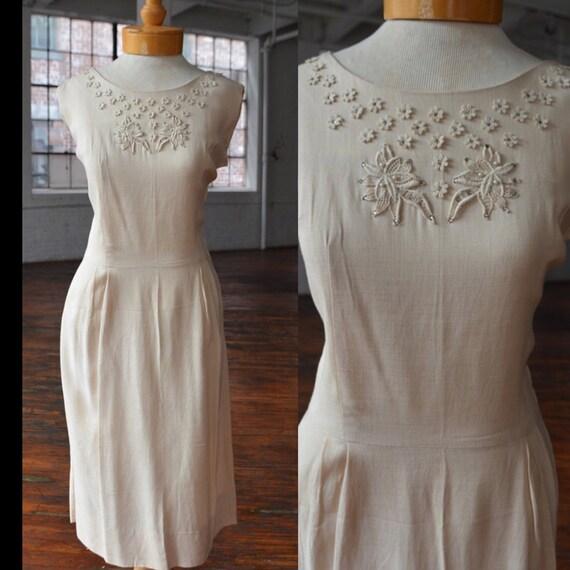 40s Linen Floral Applique Sleeveless Dress