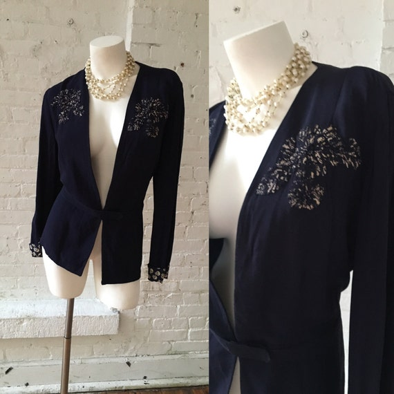 Navy Blue 1940s Blazer with Embroidered Floral Pat