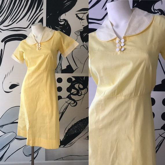 Yellow and White 40s House Dress