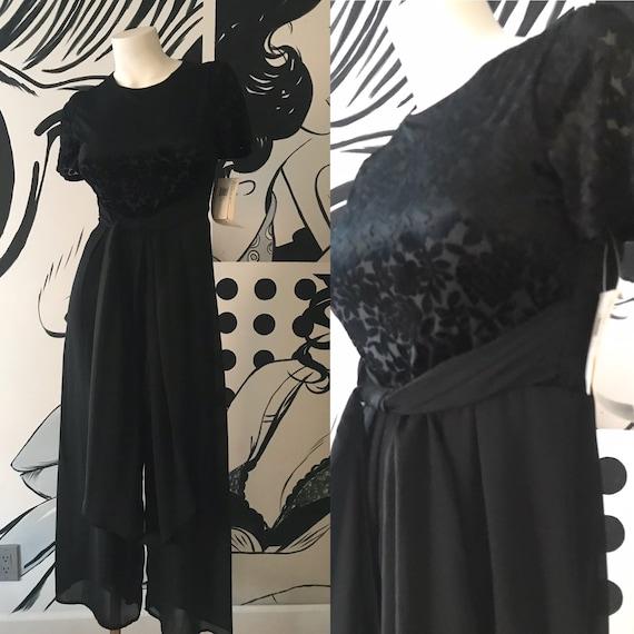 Black Jumpsuit with  Velvet Floral Pattern