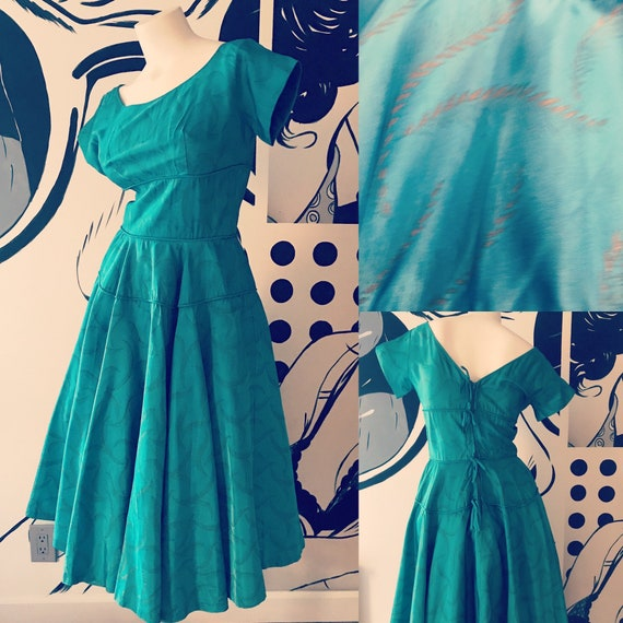 Teal 1950s Dress with Gold Tone Fern Print