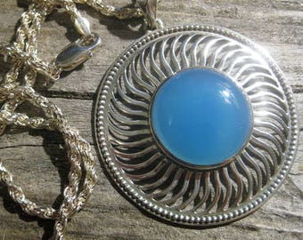 natural BLUE CHALCEDONY heavy sterling silver sun, cosmic swirl motif pendant necklace, 24 inch 4 mm rope chain. Meditation stone.