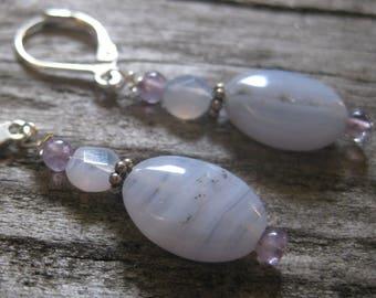 Blue Chalcedony, Lace Agate, Amethyst EARRINGS, sterling silver leverbacks, 1 1/4 inch dangle.  Calming stone.