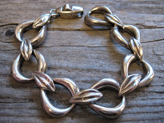 Chunky Sterling Link Bracelet with Lots of Dots