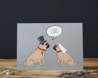 Pug wedding or engagement  card