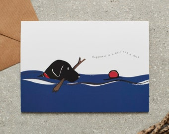 Swimming Labrador card