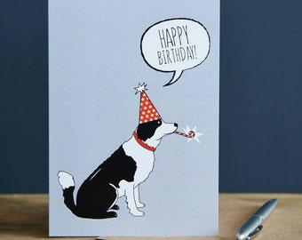 Border Collie birthday card