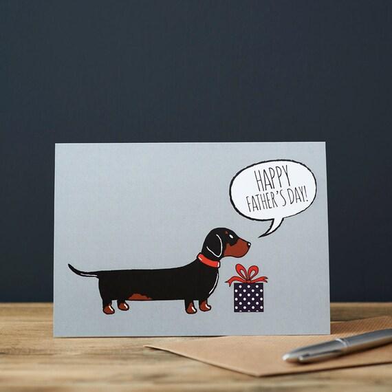 Dachshund / tarjeta del día del padre de perro salchicha | Etsy