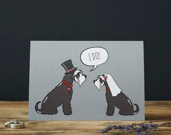Schnauzer wedding or engagement card (choice of colour dog)