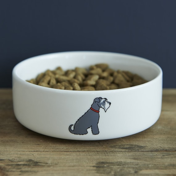 small grey schnauzer ceramic dog food water bowl etsy