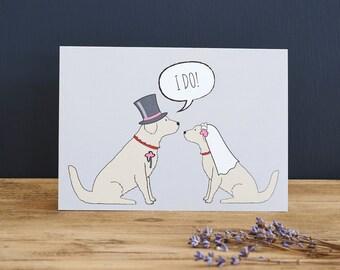 Golden Retriever wedding or engagement  card