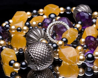 Amethyst necklace with Citrines, Hematites, Pearls, & Silver: