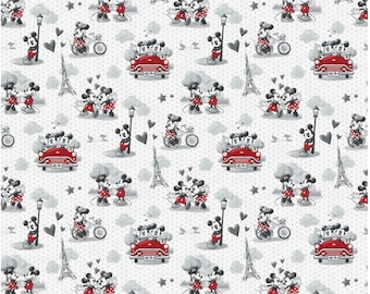 21a08df0d414 Disney Mickey And Minnie Vintage Scenes of Romance by Springs Creative Sold  By The Half Yard In One Continuous Cut