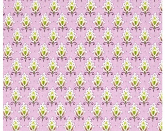 By 1//2 Yard Fabric ~ Devon Green Paisley on Lavender ~ Quilting Treasures