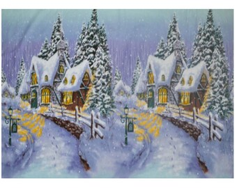 Winter Castles Walls Snow Forest Fantasy Blue Cotton Fabric Print BTY D781.14