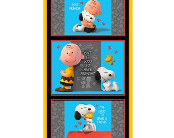 Good Friends Charlie Brown And Snoopy Peanuts Fabric Panel By Quilting Treasures Fabric