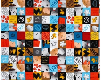 Good Friends Charlie Brown And Snoopy Character Patch Peanuts Fabric By Quilting Treasures Sold By The Half Yard In One Continuous Cut