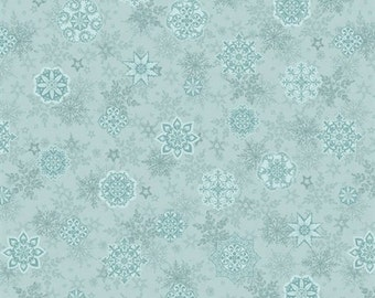 Holiday Cheer Christmas Light Blue Snowflake Fat Quarter Fabric