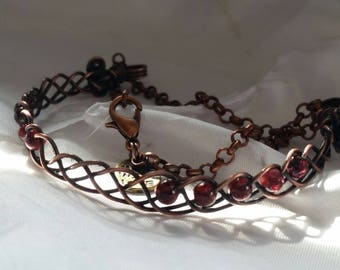 Wire Wrapped, Oxidised Copper, Half Cuff Bracelet with Garnet Beads