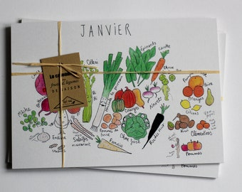 The large illustrated calendar of seasonal fruits and vegetables - A5 format - batch of 12 cards - perpetual calendar