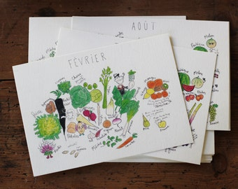 The calendar of fruits and vegetables - set of 12 postcards drawn by hand - perpetual calendar