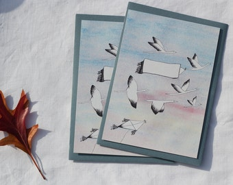 set of 2 illustrated maps to customize for any occasion (birthday, congratulations, thank you) birds watercolor and ink