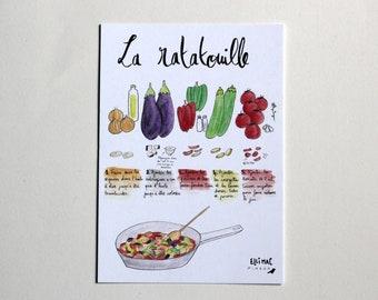 Illustrated recipe card - La Ratatouille - original illustration