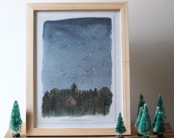 """Map """"Constellations"""" - original illustration watercolor and ink"""