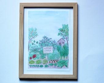 Garden poster to customize - original illustration