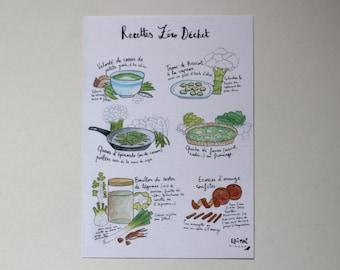 Illustrated A5 card - zero waste recipes - original illustration