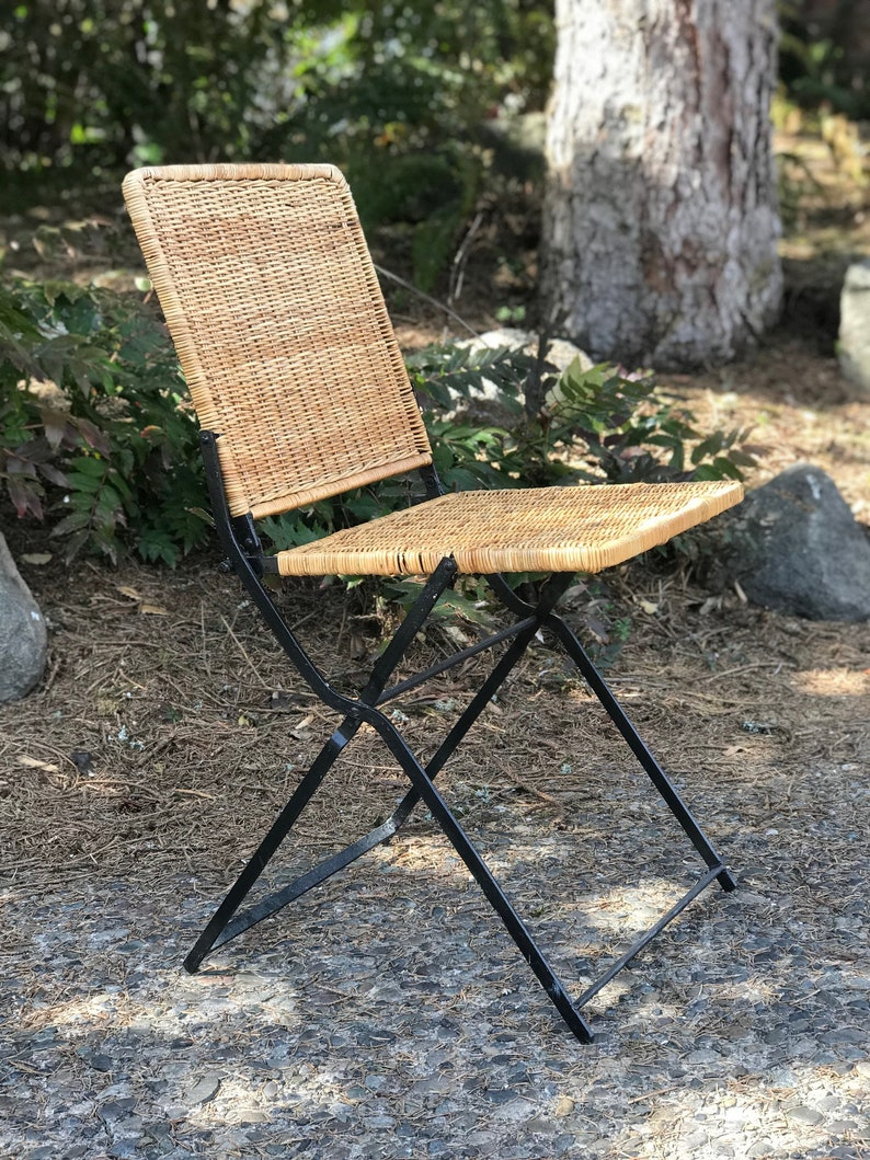 Mid Century Vintage Rattan Wrought Iron Folding Chair
