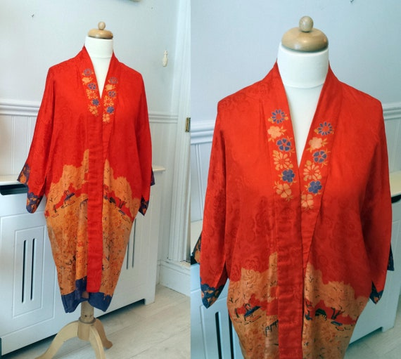Kimono 1920's Pongee Silk Japanese Robe Oranges Bl